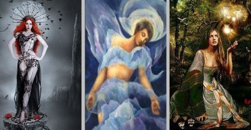 Lilith, the Dark Mistress; Chalandris, the Spirit of the World; and Viviane, Queen of the May